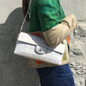 Chanel East West White Canvas Shoulder Bag
